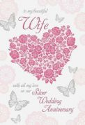 Wife 25th Silver Wedding Anniversary Card